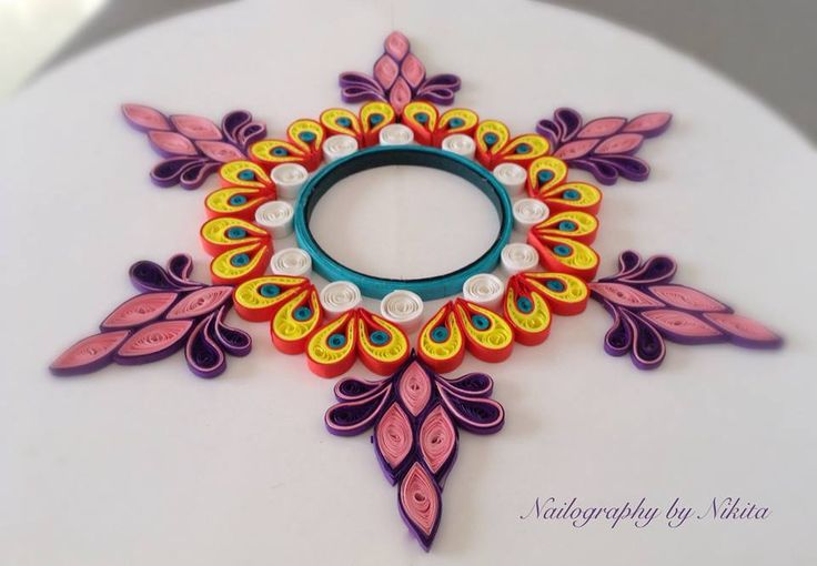 Quilled rangoli, quilling candle holder, design