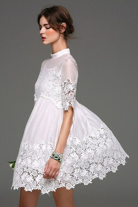 Black and White Embroidered Lace Half Sleeve Cotton-Silk Dress 01630