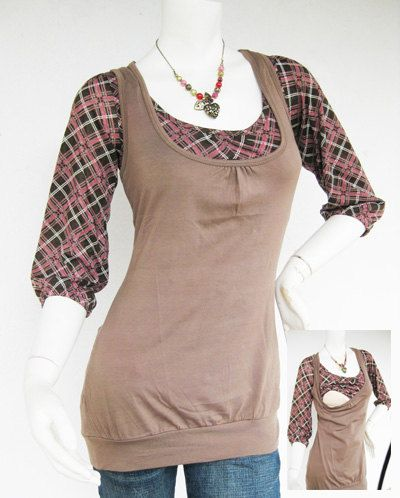 Maternity Clothes / Nursing Top / Breastfeeding Top / BECCA NEW / TARTAN Mocha / Nursing Clothes / Pregnancy Clothes