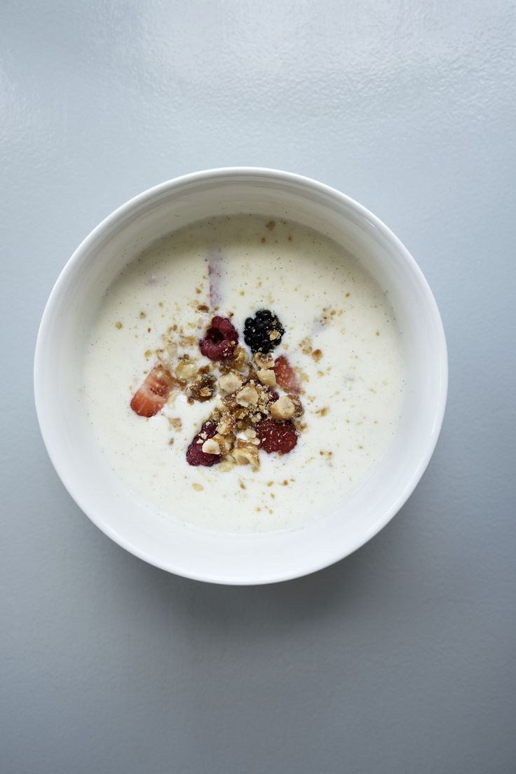 """The danish dish """"koldskål"""" are a cooling milk dessert eaten by all danes in summer time. Bowl from tinekhome."""