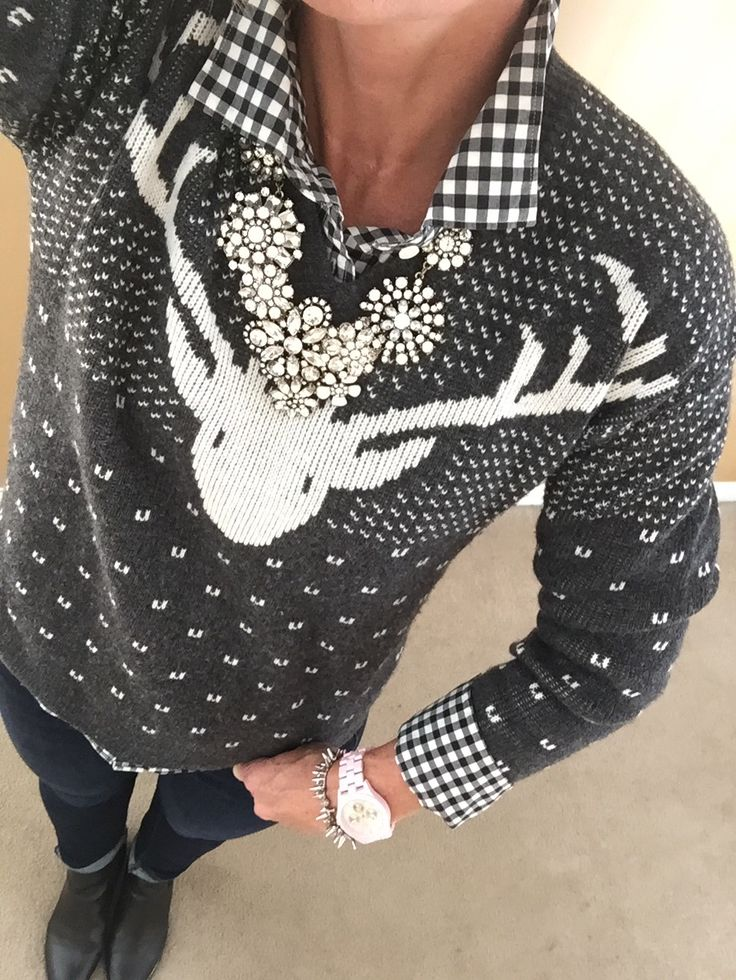 Fashion Over 40:  J Crew sweater, Gingham shirt, J Crew necklace, Stella & Dot Bracelet, Charming Charlie watch, Sam & Libby ankle boots via Target