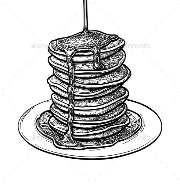 Ink Sketch Of Pancakes Ad Ink Sponsored Sketch Pancakes Ink Sketch Cubism Art Girl Drawing Sketches