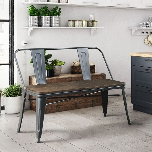Furniture of America Tripton Industrial Metal Natural Elm Dining Bench