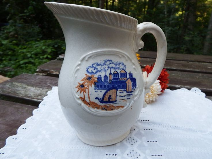 Antique Earthenware Pitcher, Made in Japan, Old White Pitcher, Primitive Fishing Scene, Japanese Motif, Ceramic Pitcher, Old Pottery by AtticOdyssey on Etsy