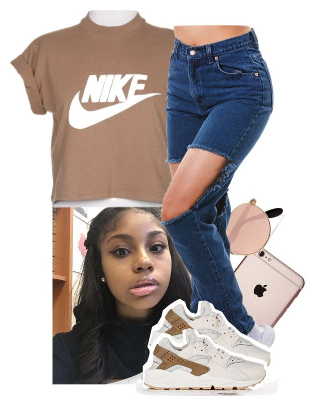 """leave your Snapchat names"" by xtiairax ❤ liked on Polyvore featuring Ray-Ban and NIKE"