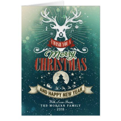 Merry Christmas & Happy New Year Holiday Greetings Card - holiday card diy personalize design template cyo cards idea