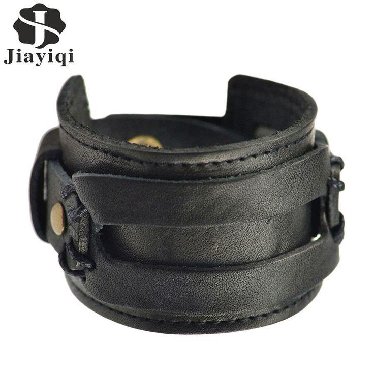 leather jewelry | Handmade Genuine Leather Bracelets Fashion Black Brown Punk Wide Cuff ...