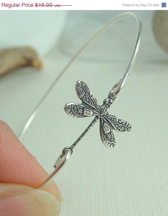 Vacation Sale 30% Dragonfly Bracelet, Dragonfly Jewelry, Dragonfly Bangle Bracelet, Silver, Dragon Fly Charm Bracelet, Nature Bracelet, Nat on Etsy, $11.20