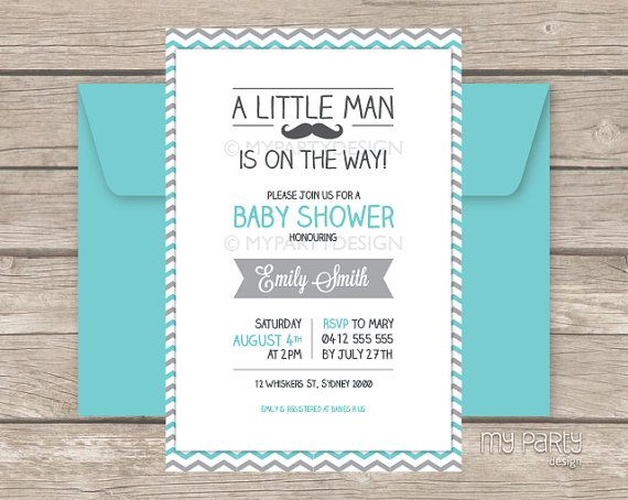 little man baby shower invitation mustache party by mypartydesign - Mustache Party Invitations