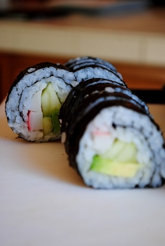 California Rolls Recipe, with photos of each step.