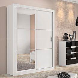 Guarda-roupa 2 Portas de Correr com Espelho Tupi Branco/Branco/Preto - Lopas