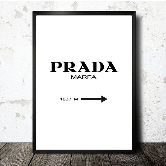 Prada Marfa print printable in A4 size sheet. Lámina por decopared