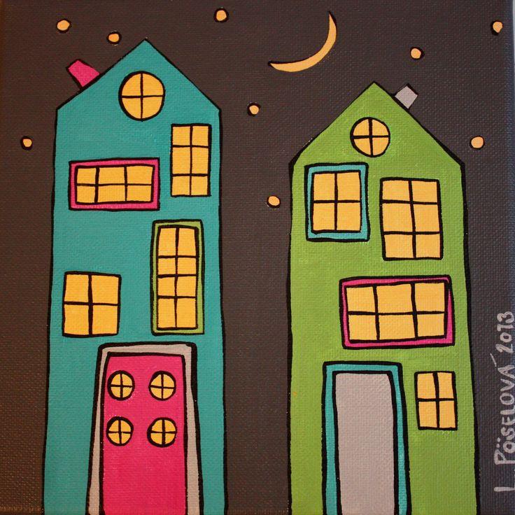 Sousedé Akryl na plátně, 20x20 cm. Z cyklu Městečko Signováno
