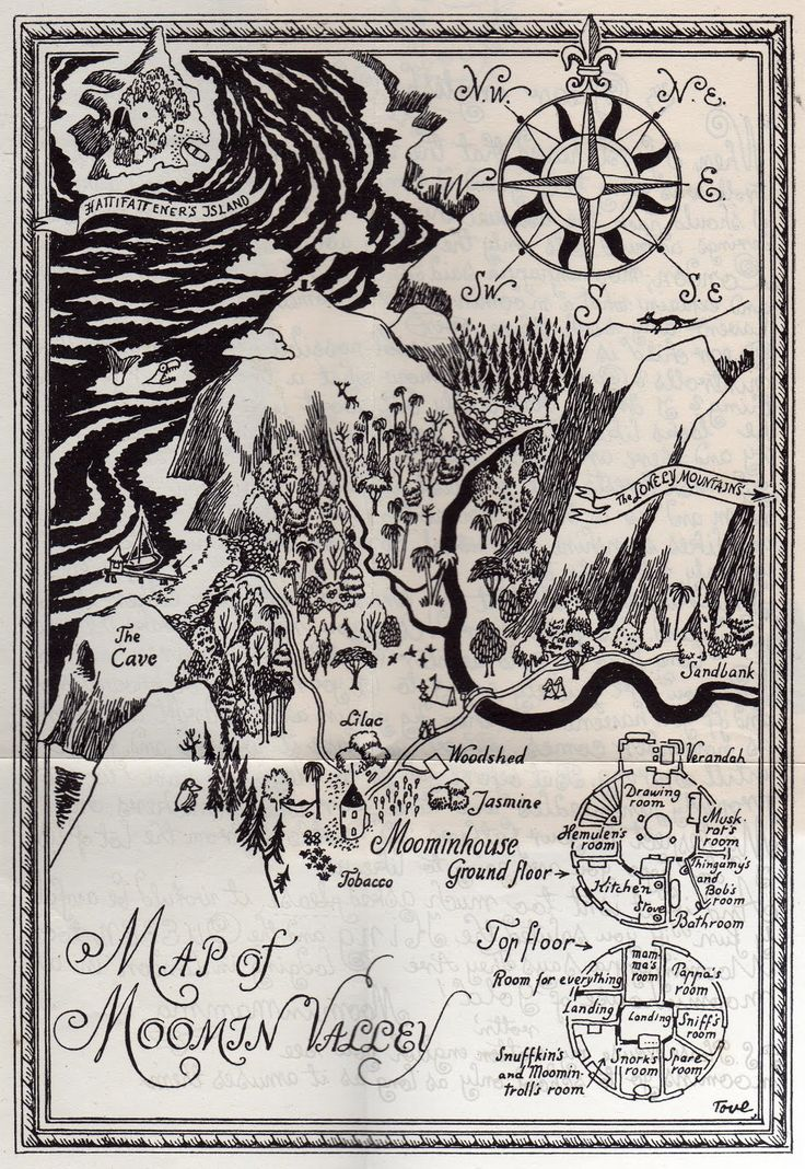 A Map of Moomin Valley...What more could you want? Tove Jansson's imagination is nothing short of spectacular and her images are just lightyears beyond charming.