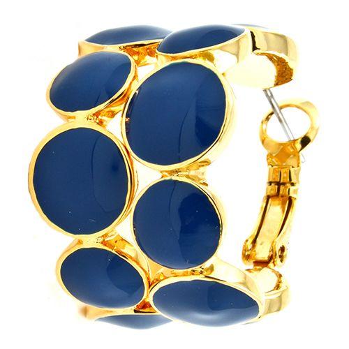 Honor Round Enamel Earrings in blue