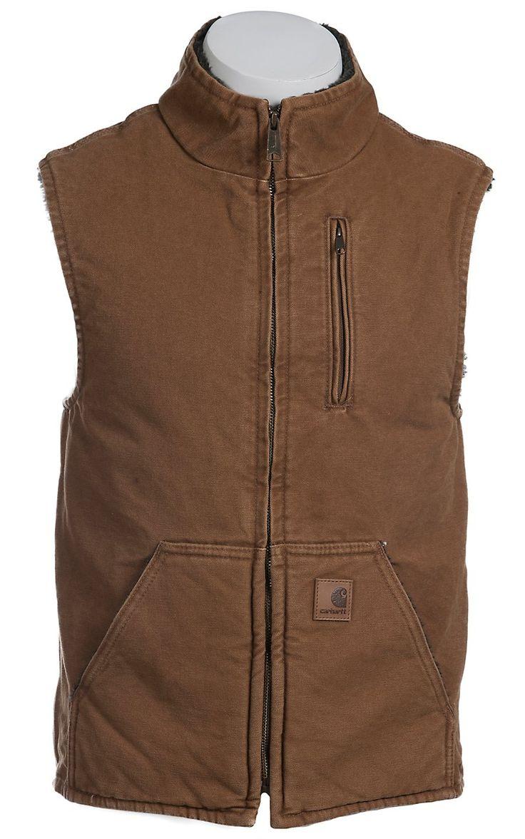 Carhartt® Brown Sandstone Lined Mock-Neck Vest