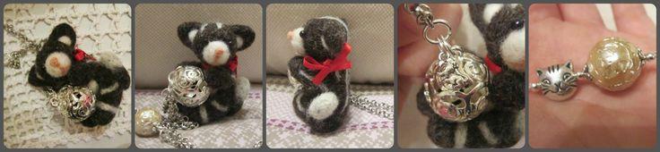 """Disponibile in UP già iniziato. Termina il 16 febbraio alle ore 21.00.Per aggiudicarsi questa collana con ciondolo pendente a forma di gatto(pupazzo fatto a mano con lana cardata),basta commentare con """"mio"""". Link per aggiudicarsela, info e costi: https://www.facebook.com/photo.php?fbid=663084110401129&set=a.662437333799140.1073741851.100000986374794&type=1&theater"""