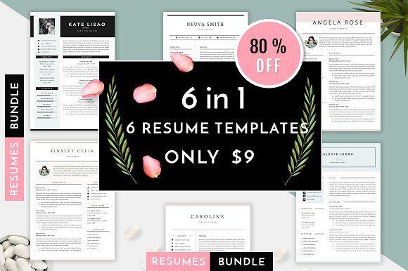 6 in 1 Resume Templates Bundle Vol 1 by GResume on @creativemarket