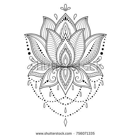 Henna tattoo flower template in Indian style. Ethnic floral paisley – Lotus. Mehndi style. Ornamental pattern in the oriental style.