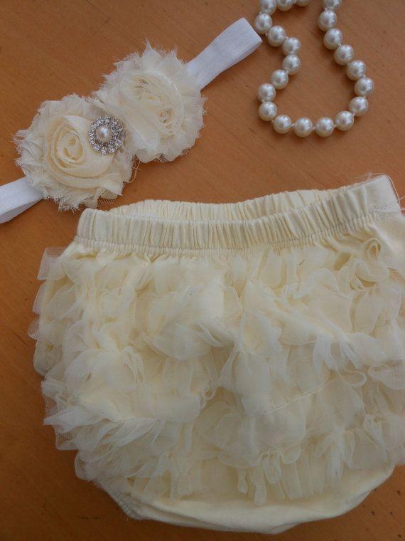 Ready to Ship Ivory Baby Ruffle BloomersIvory by TheRuffledbum, $15.00