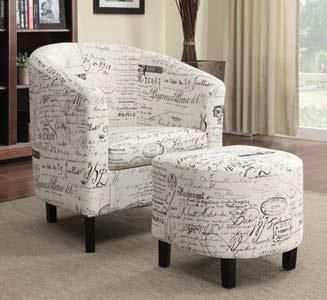 Off White French Script Patterned Fabric Upholstered Barrel Back Arm Chair And Ottoman For The