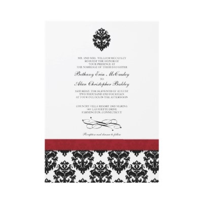 Damask Wedding Invitations Red and Black by DamaskDiva