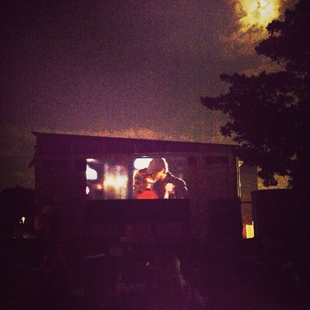The notebook at an outdoor cinema
