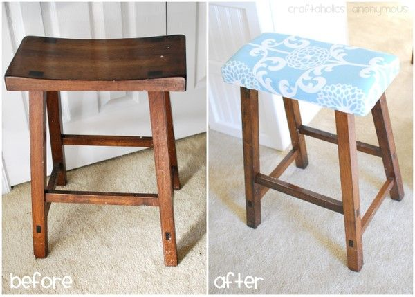 I so want to do this. Eventually I want to do a cute DIY kitchen island and get two stools like this and cover the tops to make them super cute!