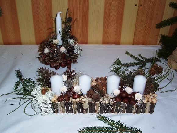Dekorace - svícen a adventní věnec - vyrobeno z přírodnin