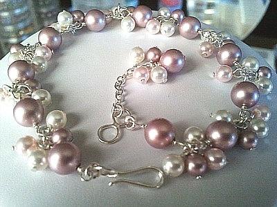 Powder Rose Pearl Flower Bracelet  Valentines Gift by LaLaCrystal, $26.00