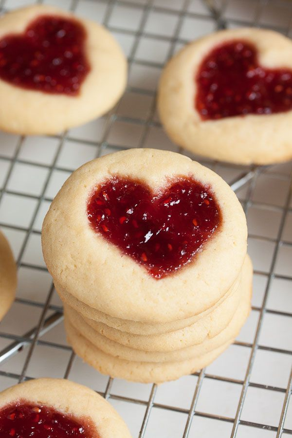 Perfectly soft and buttery little heart-shaped jam thumbprint cookies.