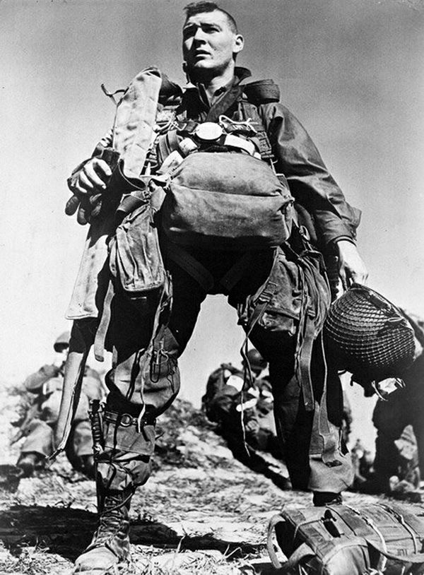 American paratrooper, 1945 by Robert Capa. http://121clicks.com/inspirations/robert-capa-inspiration-from-masters-of-photography