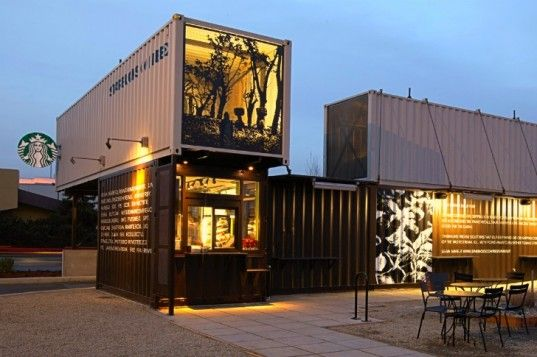 Tukwila, Washington, Starbucks' brand new reclaimed shipping container coffee shop designed in-house by resident Starbucks architects.    Read more: Starbucks Opens New Reclamation Drive Thru Made From Recycled Shipping Containers | Inhabitat - Sustainable Design Innovation, Eco Architecture, Green Building