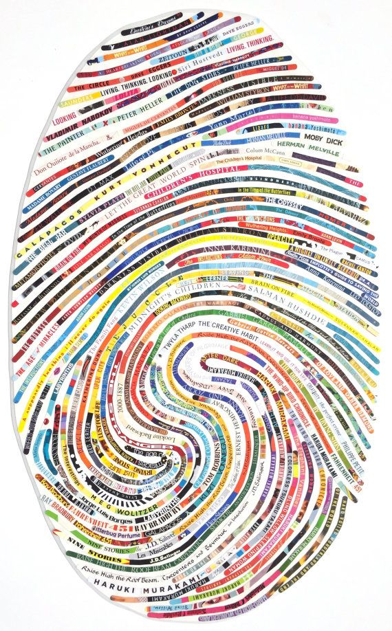 Large Modern Custom Portrait for the Book Lover / Avid Reader - Using Your Own Unique Thumbprint Pattern and Your Favorite Book Titles  - handmade by cherylsorgstudio on Etsy