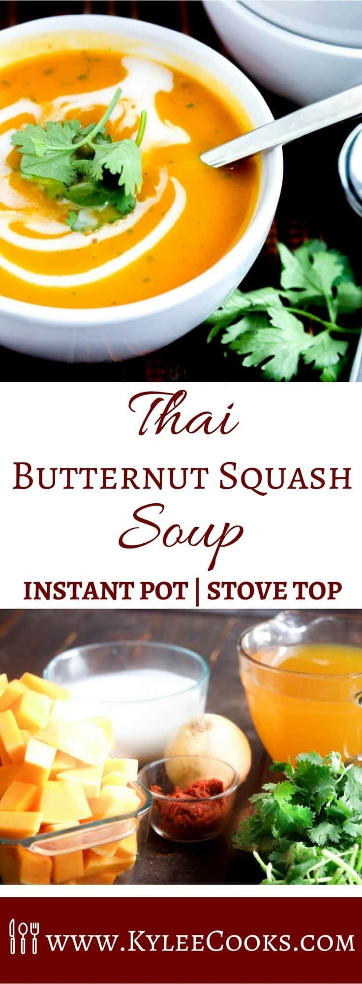 A velvety smooth and dreamy Thai Butternut Squash Soup, with a kick of Thai heat, balanced by creamy coconut cream and fragrant cilantro. Instant Pot and Stove Top instructions included!