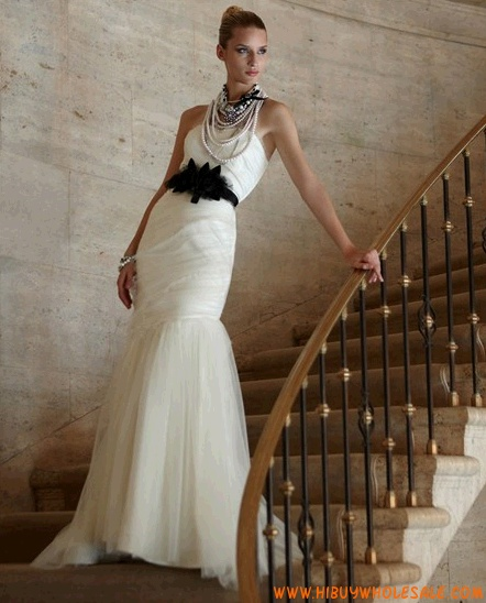 Strapless Mermaid Ruched White Tulle with Black Belt Wedding Dress by Couture 2013