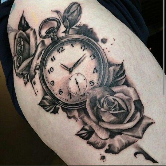 Tattoo Designs Roses And Clock: Chase Tafoya - Thigh Clock And Roses Tattoo