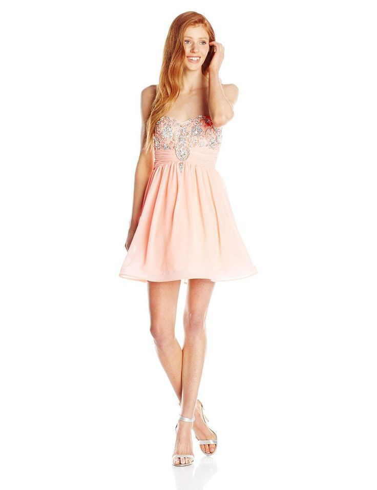 cute-strapless-sweetheart-beaded-short-blush-chiffon-cocktail-dress-