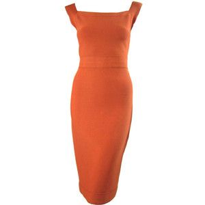 Pre-owned Herve Leger Tangerine Dress with Brown Ticking