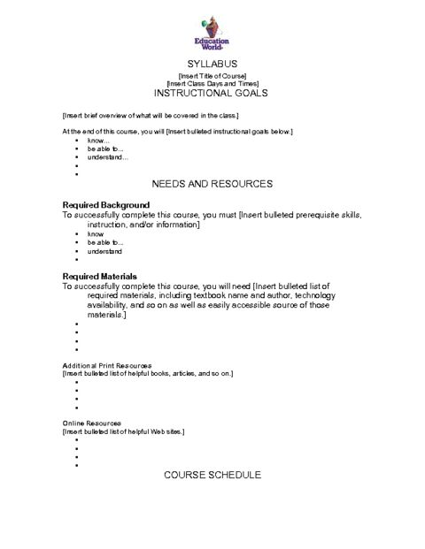 syllabus format template
