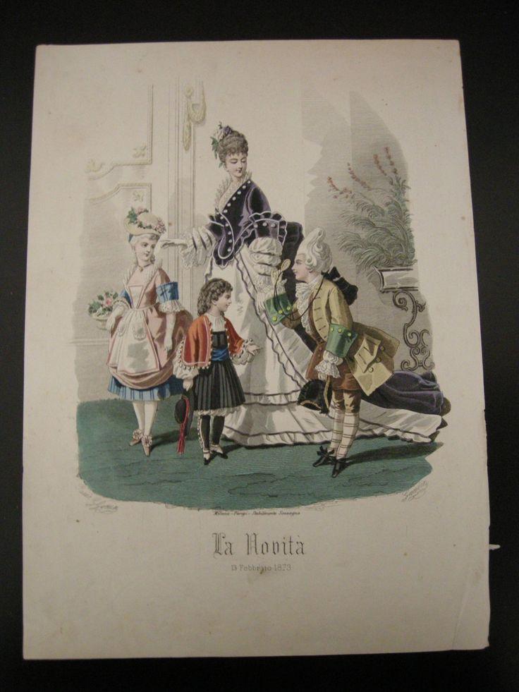 1873 Vintage Print Italian Fashion Dress Hat Woman Children Moda italiana Vestiti Cappelli Donna Bambini Italy Italia Stampa di VintageBooksPrints su Etsy