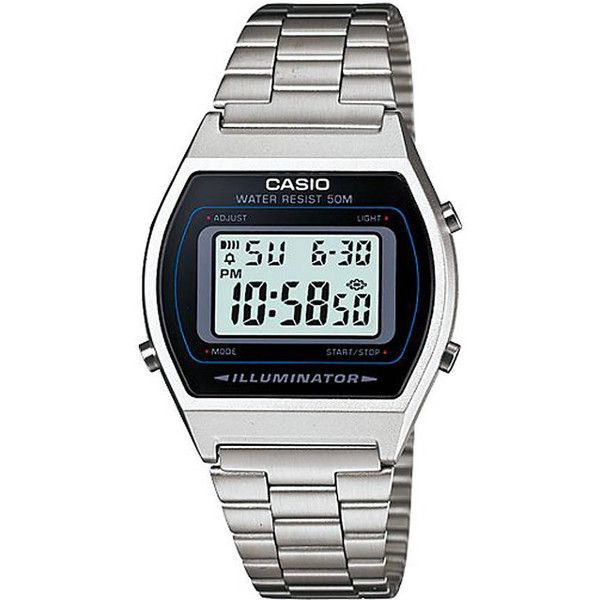 Casio Vintage Digital Watch Silver (290 RON) ❤ liked on Polyvore featuring men's fashion, men's jewelry, men's watches, digital watches, mens watches, silver, watches, casio mens watches, mens digital watch and mens silver watches