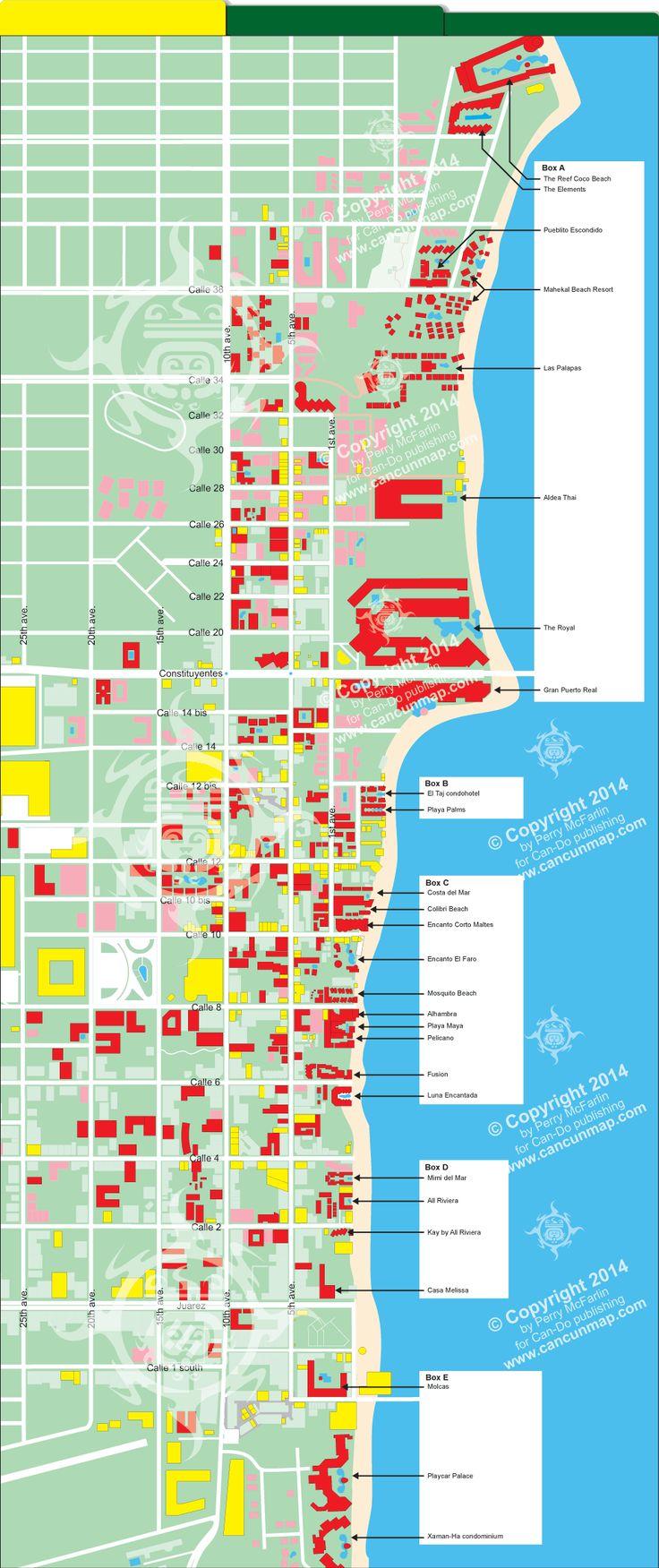 Playa del Carmen map of beachfront hotels
