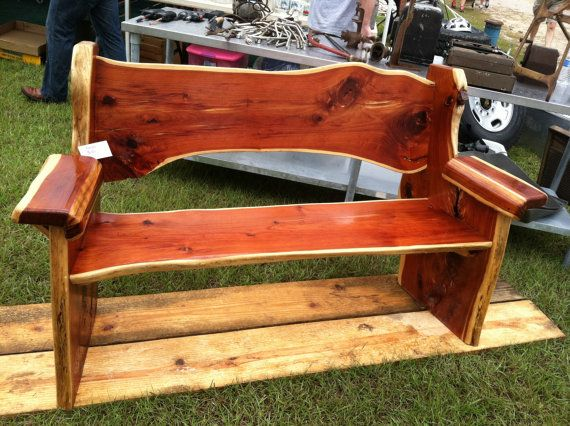 Cedar bench wooden bench wooden furniture rustic by Larrywoodworks