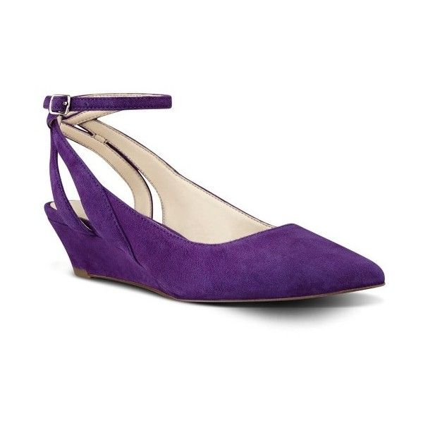 Women's Nine West Esme Wedge Pump ($60) ❤ liked on Polyvore featuring shoes, pumps, purple suede, pointed toe pumps, suede pumps, purple suede pumps, wedge pumps and nine west shoes