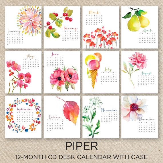 PIPER 2016 Desk Calendar with CD case by doublebuttons on Etsy