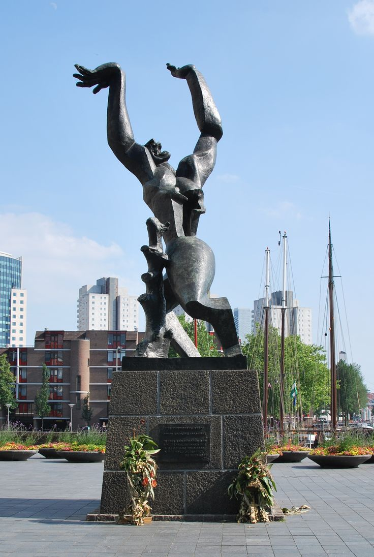 Statue of Zadkine in Rotterdam, it represents the bomd out heart of the city during the second world war.