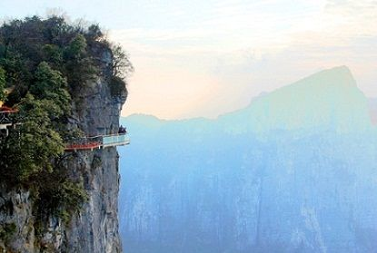 Skywalk on the side of the west cliff at the Yunmeng Fairy Summit in China - amazing!Mountain China, Decks, Arches, Places I D, National Parks, Blog Design, Gates, Glasses Walkways, Tianmen Mountain