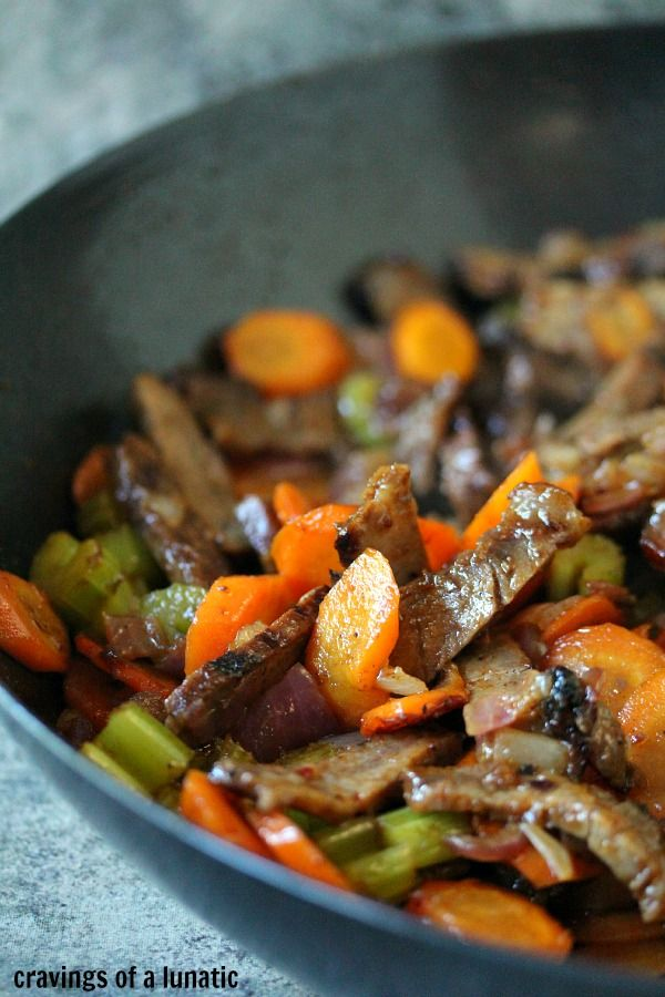 Beef Stir Fry   Cravings of a Lunatic This easy stir fry recipe uses leftover beef roast as the main ingredient. Fill it up with whatever veggies you have on hand, then top it over rice or noodles for a fabulous dinner. Serve over rice or noodles too!