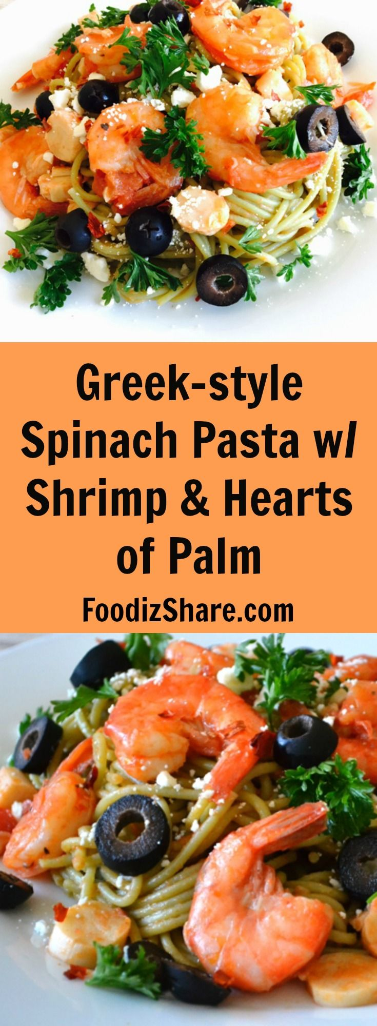 This Greek style #shrimp #pasta made  using spinach pasta, tomatoes, garlic, feta cheese, olive oil is healthy and hearty. #recipe #healthy #healthyrecipes #food #greek #mediterranean #easyrecipes #dinner